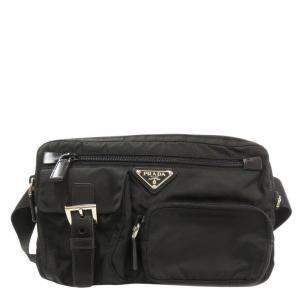 Prada Black Leather, Nylon Tessuto Belt Bag