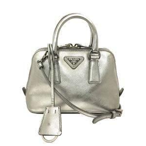 Prada Silver Leather Small Promenade Satchels