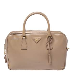 Prada Beige Saffiano Patent Leather Bauletto Bag
