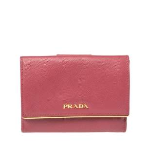 Prada Pink Saffiano Lux Leather Bar Flap French Wallet