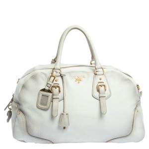 Prada Ombre White Cervo Antik Leather Bauletto Bag