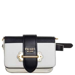 Prada Black/White Leather Cahier Belt Bag