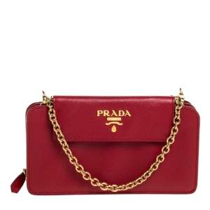 Prada Red Saffiano Lux Leather Wallet on Chain