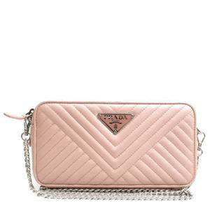 Prada Pink Leather Impunture Shoulder Bag