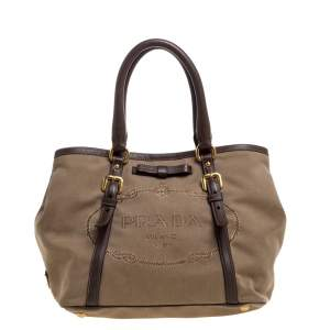 Prada Beige/Brown Jacquard Logo Canvas and Leather Bow Shoulder Bag