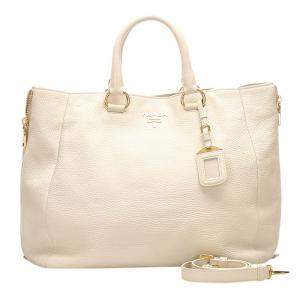 Prada White Leather Vitello Daino Tote Bag