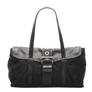 Prada Black Leather Nylon Tessuto Shoulder Bag