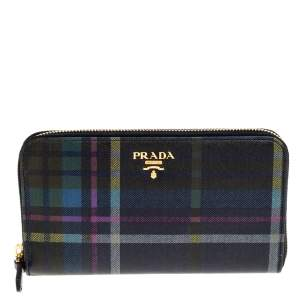 Prada Multicolor Plaid Print Leather Zip Around Continental Wallet