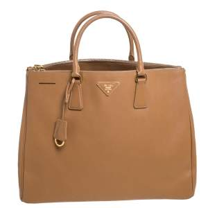 Prada Tan Saffiano Lux Leather Executive Double Zip Tote
