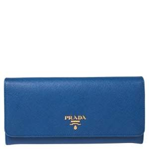 Prada Blue Saffiano Lux Leather Flap Continental Wallet