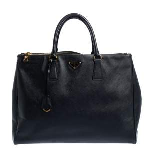 Prada Black Saffiano Lux Leather Executive Double Zip Tote