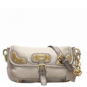 Prada Gray Leather Chain Shoulder Bag