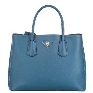 Prada Blue Saffiano Leather Cuir Twin Tote Bag