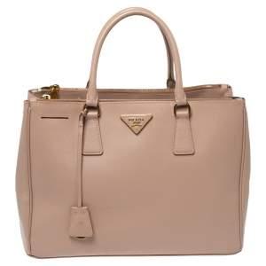Prada Pale Pink Saffiano Lux Leather Medium Double Zip Tote