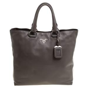 Prada Grey Soft Calf Leather Shopper Tote