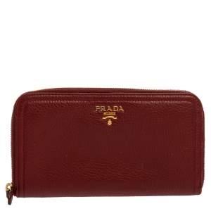 Prada Red Leather Zip Around Continental Wallet