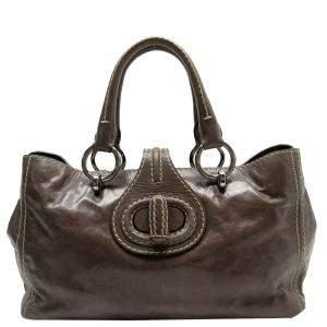 Prada Grey Leather Vintage Satchel Bag