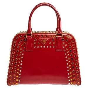 Prada Blush Pink/Red Patent Leather Pyramid Frame Bag