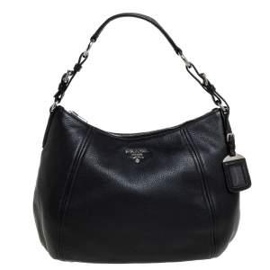 Prada Black Vitello Daino Leather Phenix Hobo