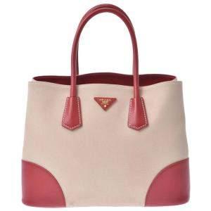 Prada Beige/Red Saffiano Cuir & Canapa Double Tote Bag