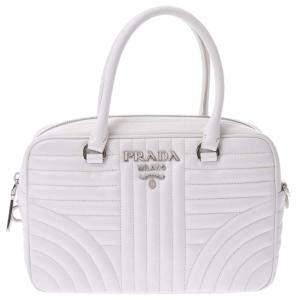 Prada White Leather Diagramme Shoulder Bag