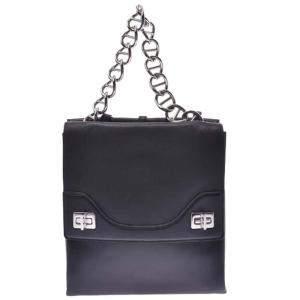 Prada Black Leather Vitello Soft Chain Shoulder Bag