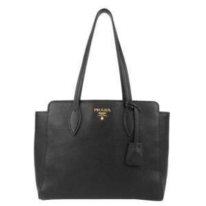 Prada Black Leather Vitello Phenix Tote Bag