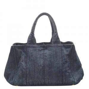 Prada Blue Denim Canapa Tote Bag