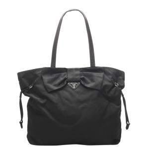 Prada Black Nylon Tessuto Bow Tote Bag