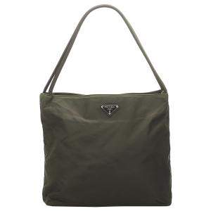 Prada Brown/Khaki Nylon Tessuto Shoulder Bag