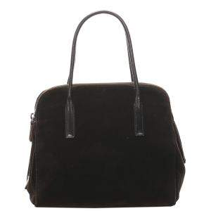Prada Brown/Dark Brown Velvet Shoulder Bag