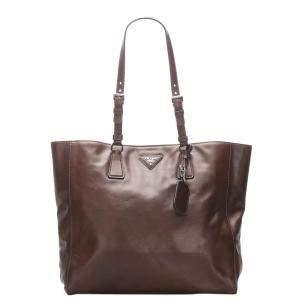 Prada Brown Soft Calf Leather Tote Bag