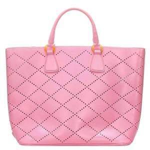 Prada Pink Saffiano  Leather Tote Bag