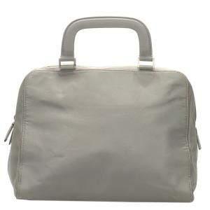 Prada Grey Leather Top Handle Bag
