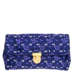 Prada Blue/Purple Printed Fabric Pushlock Flap Clutch
