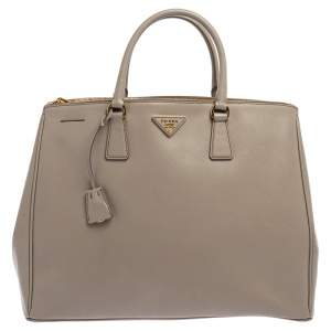 Prada Light Grey Saffiano Lux Leather Executive Double Zip Tote