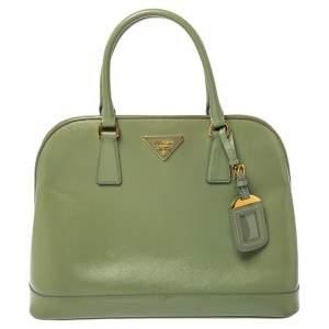 Prada Light Green Saffiano Vernice Leather Dome Satchel