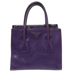 Prada Purple Leather Twin Pocket Double Handle Tote