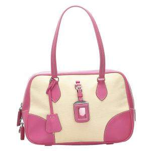 Prada Beige and Pink Vintage Satchel Bag