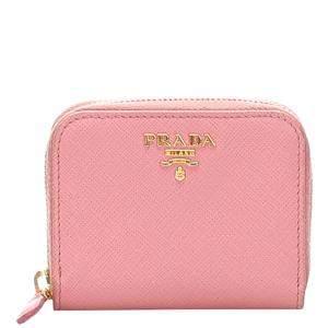 Prada Pink Saffiano Leather Coin Case