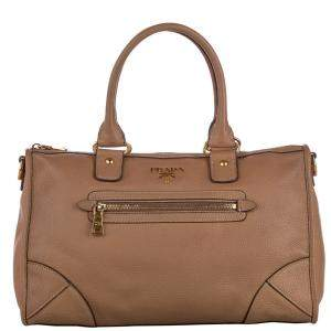 Prada Brown Leather Vitello Daino Satchel Bag