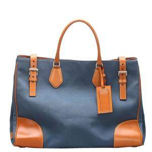 Prada Blue Denim and Leather Canapa Tote Bag