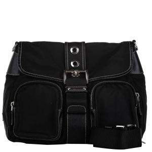 Prada Black Leather and Nylon Tessuto Bag