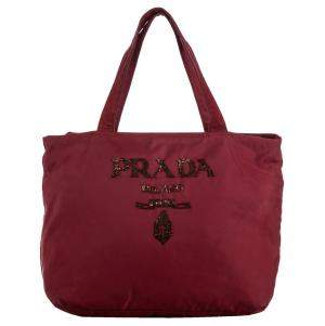 Prada Red Tessuto Embellished Tote Bag