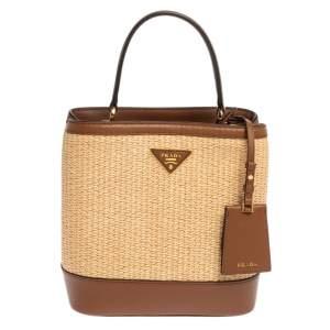 Prada Brown/Beige Raffia and Leather Medium Panier Top Handle Bag