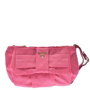 Prada Pink Nylon Bow Clutch