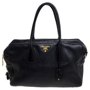Prada Black Vitello Leather Bauletto Bag