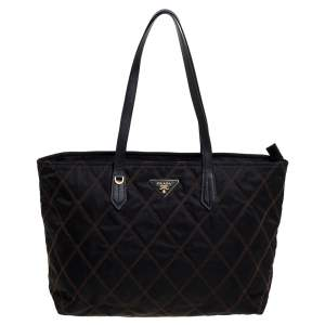 Prada Black Quilted Nylon Top Zip Tote
