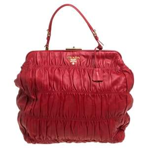 Prada Red Gaufre Nappa Leather Dressy Frame Satchel