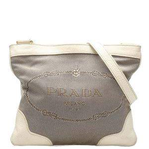 Prada Brown Khaki Canvas Canapa Bag